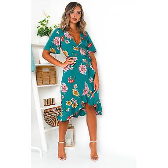 IKRUSH Womens Athena Floral Chiffon wrap dress