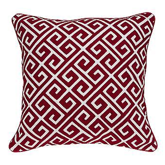 """20"""" x 7"""" x 20"""" Cubierta de almohada de algodón rojo y blanco de transición con inserción de polietileno"""