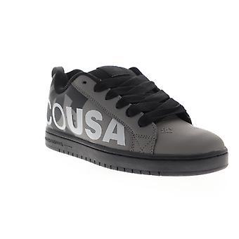 DC Court Graffik SE  Mens Gray Leather Lace Up Athletic Skate Shoes