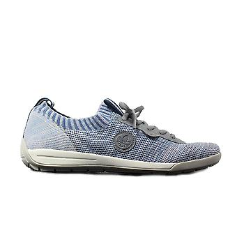 Rieker M3059-12 Blue Knitted Fabric Womens Lace Up Casual Trainers