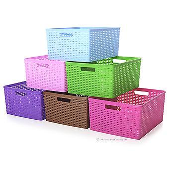 Hobby Life Large Plastic Laila Handy Tidy Basket Rattan Style