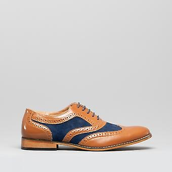 Goor David Mens Leather Lined Oxford Brogues Tan/navy