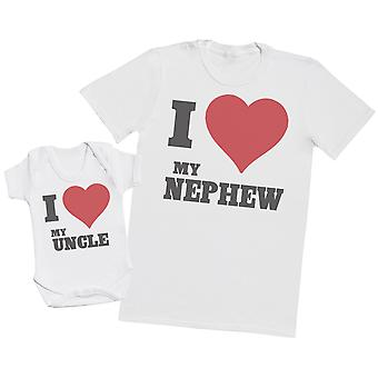 I Love My Nephew - Uncle T Shirt & Baby Bodysuit