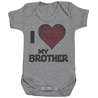Eu amo meu coração da estrela do irmão - bodysuit do bebê