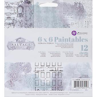 """Prima Marketing Paintables Watercolor Paper Pad 6 """"X 6» 12/Pkg-de récupération District"""