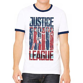 Justice League Unisex Adults Strips Design Ringer T-shirt