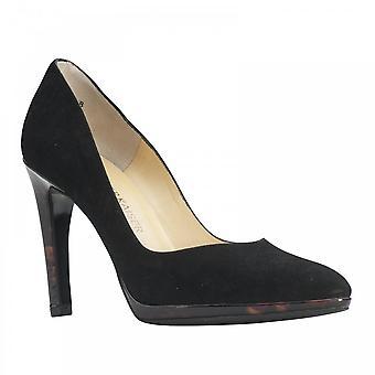 Peter Kaiser Herdi Black Suede Thin Platform High Heel Court Shoe