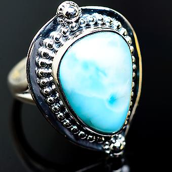 Large Larimar Rings 8.75 (925 Sterling Silver)  - Handmade Boho Vintage Jewelry RING985355