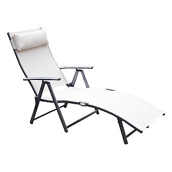 Outsunny Patio Sun Lounger Garden Textilene Foldable Reclining Chair w/ Pillow Outdoor 7 Level Height Adjustable Recliner (White)