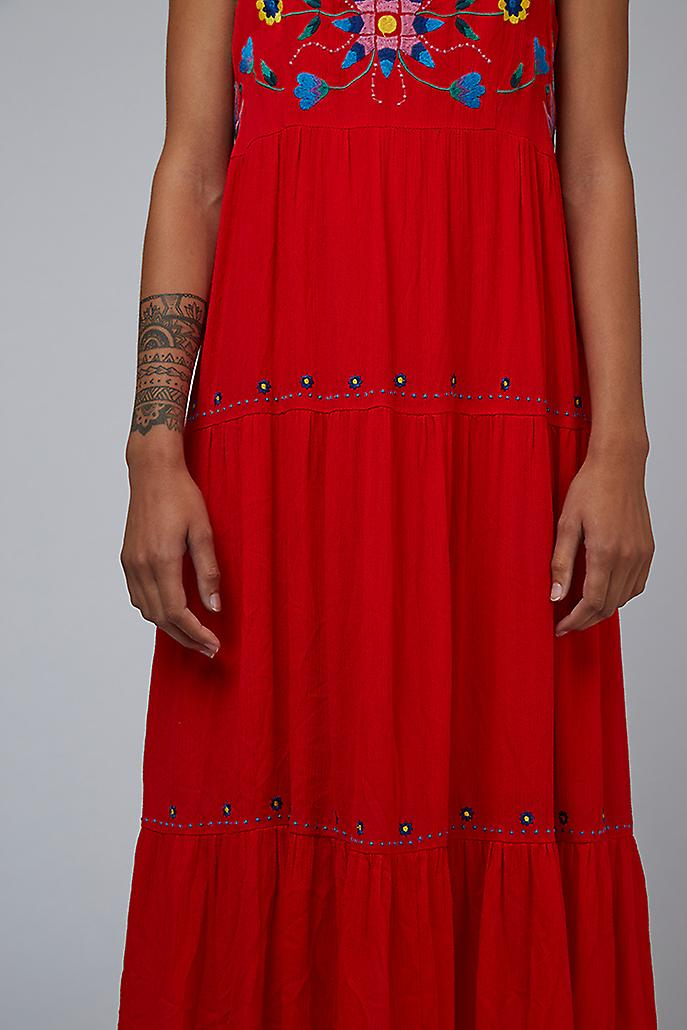 Louche Paz Embroidered Tiered Midi Dress Coral