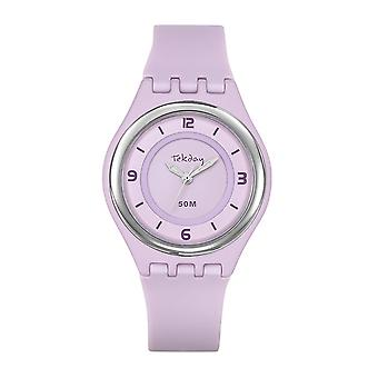 Watch Tekday 654646 - Watch Silicone Pink Box Box Silicone Rose Girl
