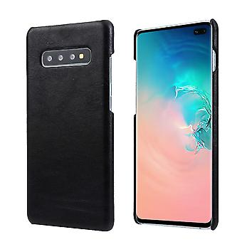 For Samsung Galaxy S10 PLUS Case, Black Elegant Genuine Leather Phone Cover