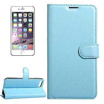 For iPhone 8,7 Wallet Case,Stylish Lychee Durable Protective Leather Cover,Blue