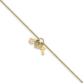 1.4mm 14k Ouro Poluante Brilho cortado Fé Religiosa Cruz Amor Coração Náutico Navio Âncora Mariner com 1polegada De Lontornozelo