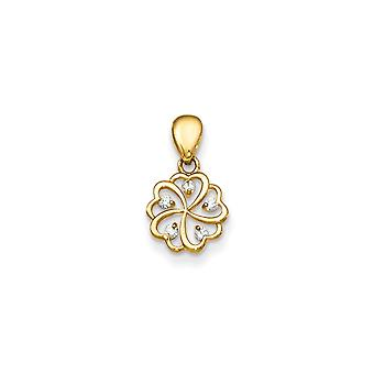 14k Yellow Gold CZ Cubic Zirconia Simulated Diamond for boys or girls Flower Pendant Necklace