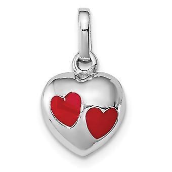 925 Sterling Ezüst Dangle polírozott Rh lemezelt fiúk vagy lányok piros zománcozott Love Heart medál nyaklánc