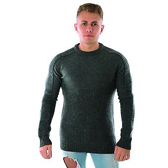 Religion 39hhrw02 Harley Ribbed Knit Jumper - Charcoal