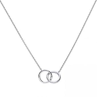 Diamonfire Silver & White Zirconia Interlocking Rings Necklace