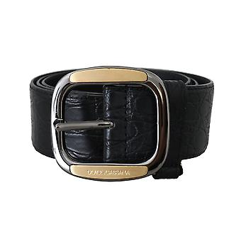 Dolce & Gabbana Black Leather Pattern Skin Belt