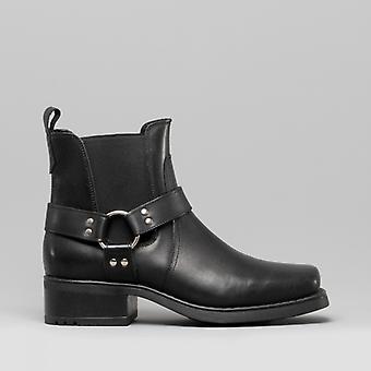 Woodland Harley Mens Leather Ankle Biker Cowboy Boots Black
