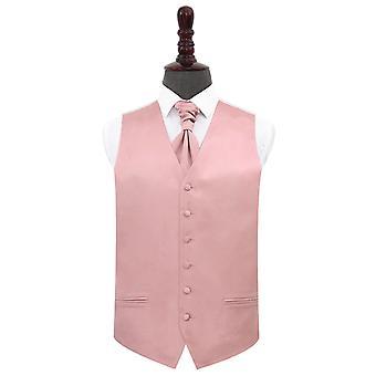 Dusty Pink Plain Satin Wedding Waistcoat et Ensemble Cravat