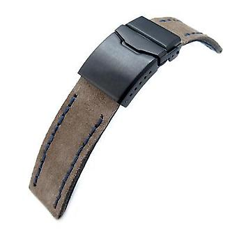 Strapcode leather watch strap 22mm miltat brown nubuck leather watch strap, blue wax hand stitch, pvd black button chamfer clasp
