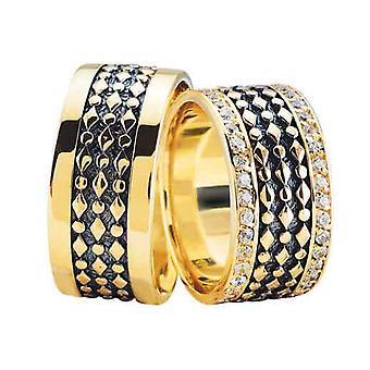 Gold wedding rings with 2 rows of diamonds