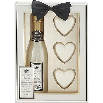 Style & Grace Signature Champagne Gift Set - 250ml Champagne Bubble Bath and 3 x 50g Heart Bath Fizzers