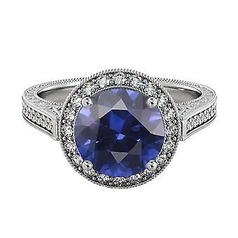 2.10 ctw Blue Sapphire Ring with Diamonds 14K White Gold Halo Filigree With Accents