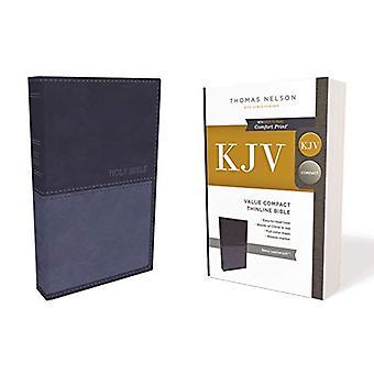 KJV - Værdi Thinline Bibelen - Kompakt - Leathersoft - Blå - Red Lette