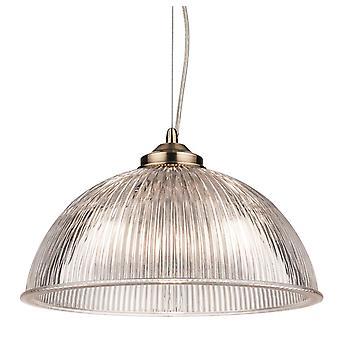 Firstlight Ashford 1 Light anheng lys antikk messing med klar ribbet glass 3723AB
