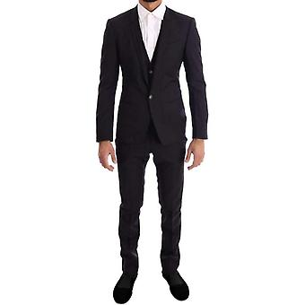 Dolce & Gabbana Purple Blue Gestreept 3 Piece Slim Suit -- KOS1577200