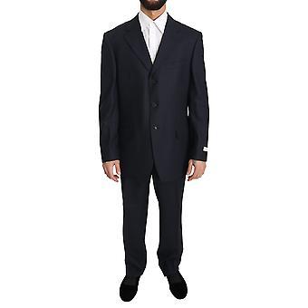 Ermenegildo Zegna Black Solid 2 Piece 3 Button Wool Suit -- KOS1818672