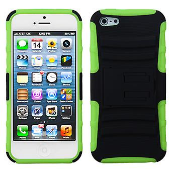 Asmyna Advanced Armor Stand Case for Apple iPhone 5/5S - Black/Electric Green
