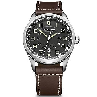 Victorinox Swiss Army Airboss Mechanical Dark Grey Dial Brown Leather Strap Men's Watch 241507
