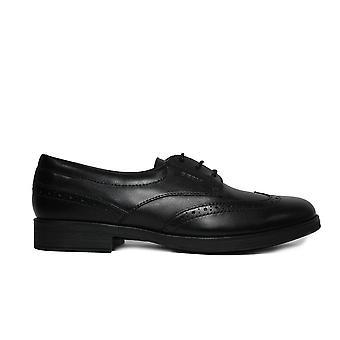 Geox Agata J8449D musta nahka tytöt pitsi ylös Brogue Koulun kengät