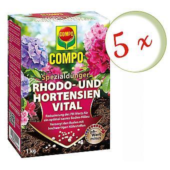 Sparset: 5 X COMPO رودس و hydrangeas الحيوية، 1 كجم