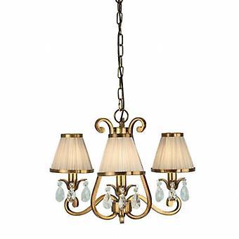 3 Light Multi Arm Ceiling Pendant Chandelier Antique Brass