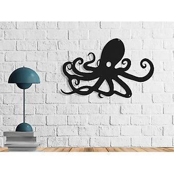 Schwarz Metall Polype Wanddekoration 50x0,16x32 cm