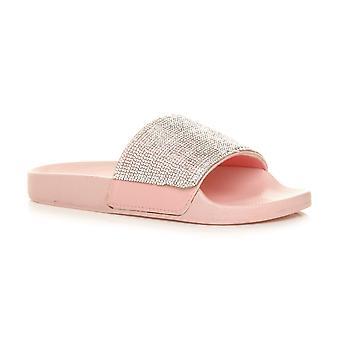 Deslizamento de barras planas Ajvani womens diamante mula brilhante sandálias flip flops chinelos