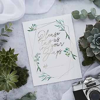 Gold Hochzeit Instagram Zeichen x2 | 'Bitte taggen Sie uns' Tischdekorationen Erinnerungen