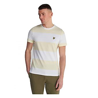 Lyle & Scott Stripe Short Sleeve T Shirt Buttercream