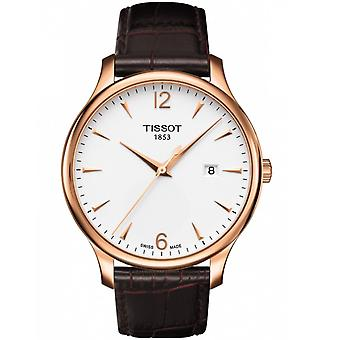 Tissot Watches T063.610.36.037.00 Tradition Brown Leather And Rose Gold Men's Watch