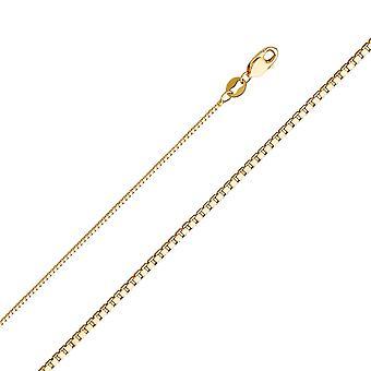14 k Gelbgold 0,8 mm Box Kette Halskette Schmuck Geschenke für Frauen - Länge: 16 bis 24