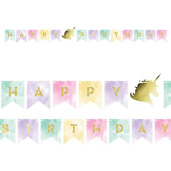 Unicorn Sparkle 'Happy Birthday' Card Party Banner for Kids Parties