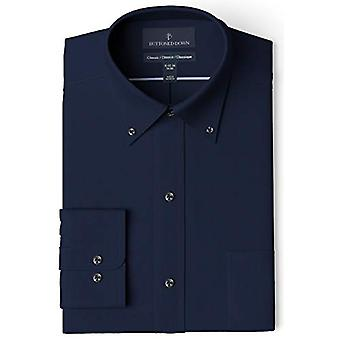 """BUTTONED DOWN Men's Classic Fit Button Collar Solid Pocket Options, Navy 18"""" Neck 34"""" Sleeve"""