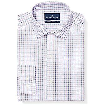 BUTTONED DOWN Men's Tailored Fit Spread-Collar Pattern Non-Iron Dress Shirt, ...