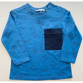 Mamino  Boy  Birdy   Blue   Long Sleeves Printed Tee Shirt