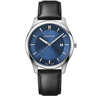 Wenger City Classic Blue Dial Black Leather Strap Men's Watch 01.1441.118