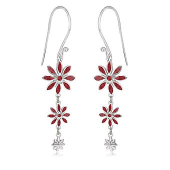 ADEN 925 Sterling Silver Coral Flower Earrings (id 4087)